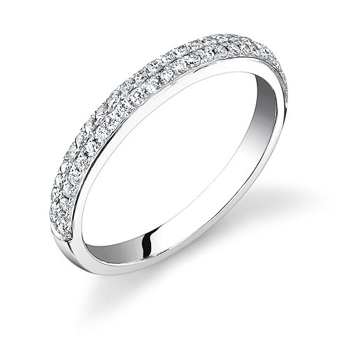 Cathedral Micropave Wedding Band 2 Row 25mm