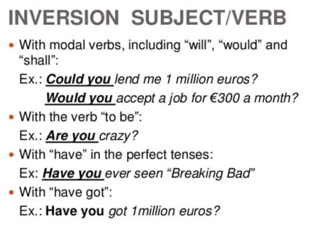 subjects, inversions, and verb tenses
