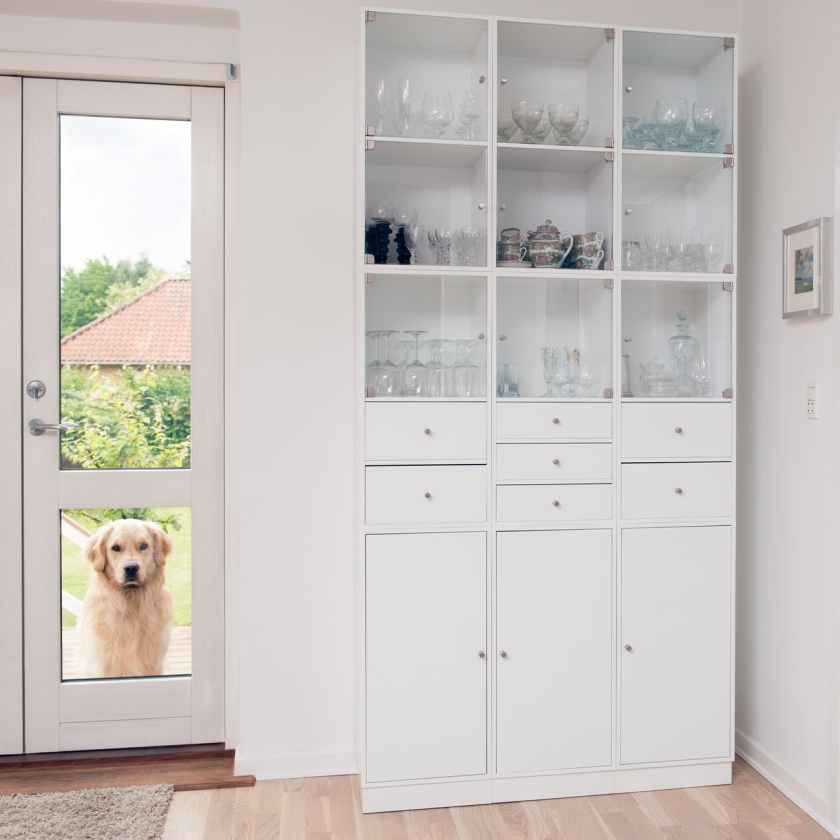 closed white wooden cabinet