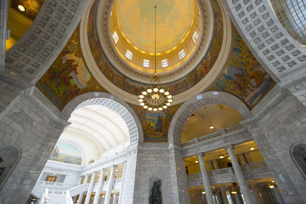 Cupola of Utah State Capitol in Salt Lake City, Utah, USA.