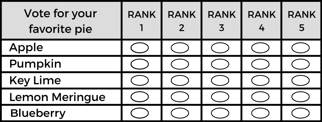 Blank Ranked Choice Ballot