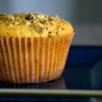 Lemon Cornmeal Pistachio Muffins