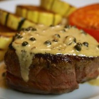 Filet Mignon with Green Peppercorn Cream Sauce