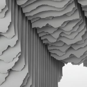 Huashan II, Detail 1 2015, 310 x 350 x 180cm, Papier + Edelstahl