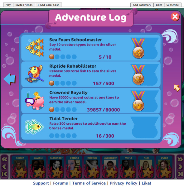 The adventure log keeps track of players' progress, and rewards them for completed tasks.