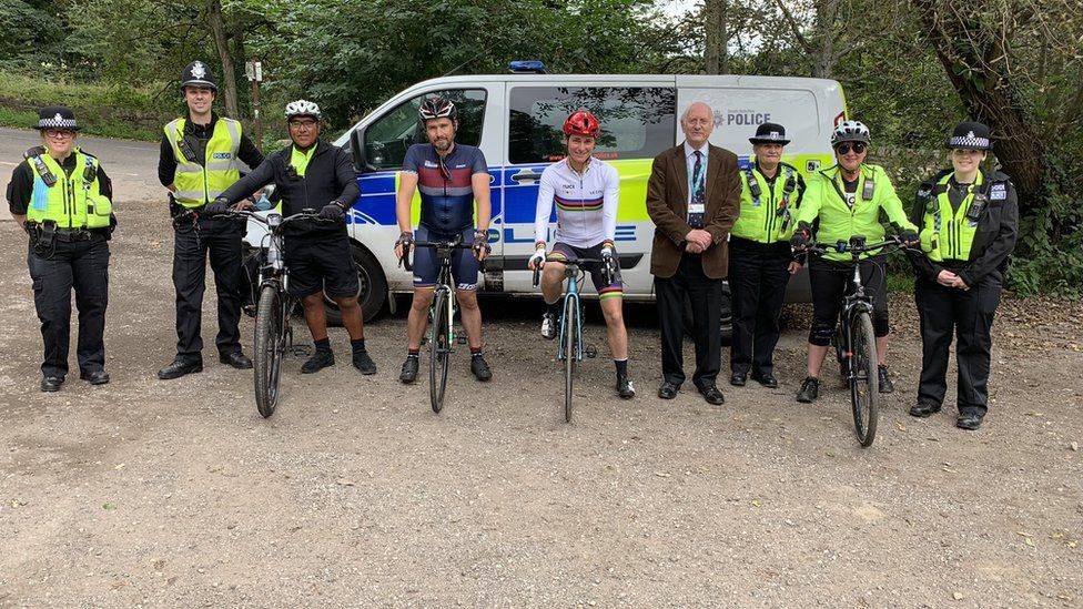 Dame Sarah Storey with South Yorkshire Police officers