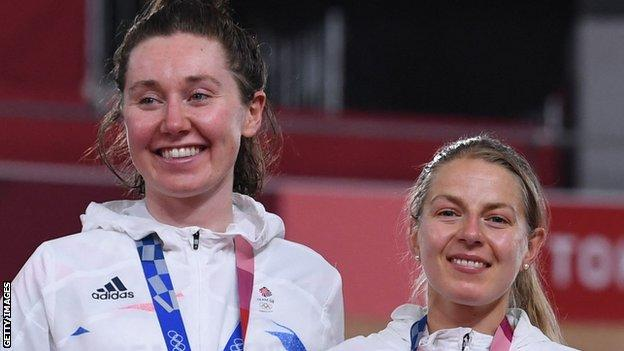 Great Britain's Katie Archibald and Neah Evans