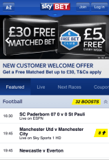 The Free Bet Club - exclusive to the Sky Bet Mobile App