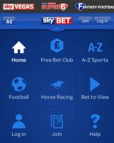 The Sky Bet Mobile App quick link menu