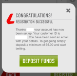 Successful registration on the Ladbrokes app