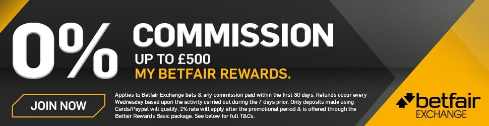 Banner showing the zero commission sign up offer from Betfair.