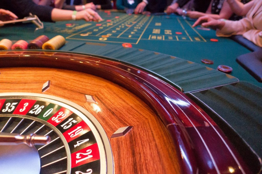 View of the roulette table.