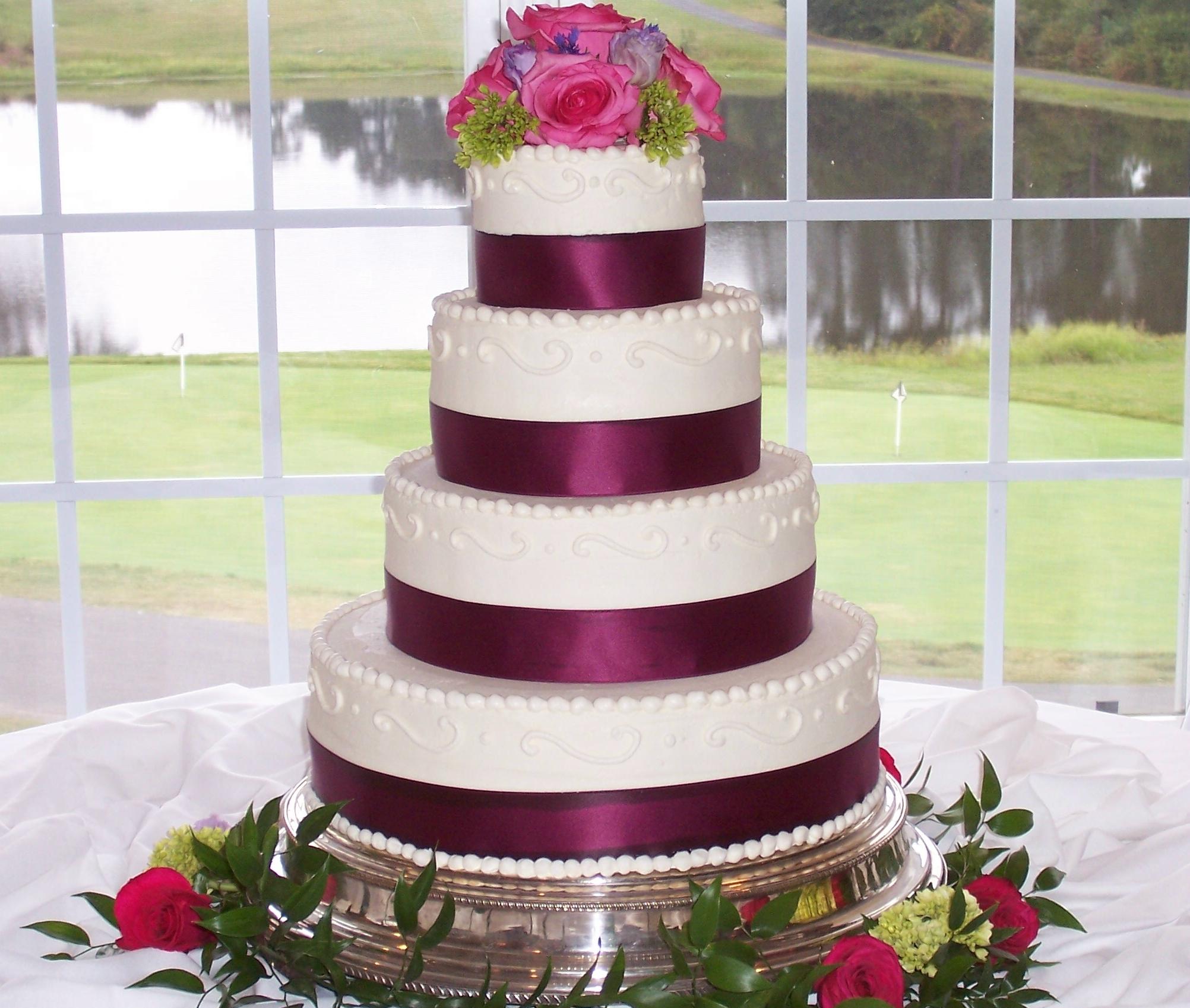 Sangria Ribbon Wedding Celebration Cakes