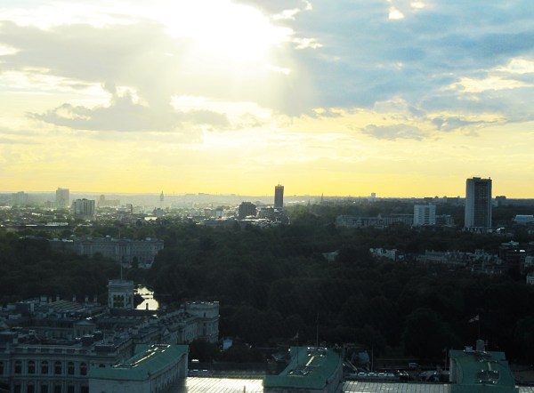 View of St. James Park and Buckinham Palace from the London Eye.