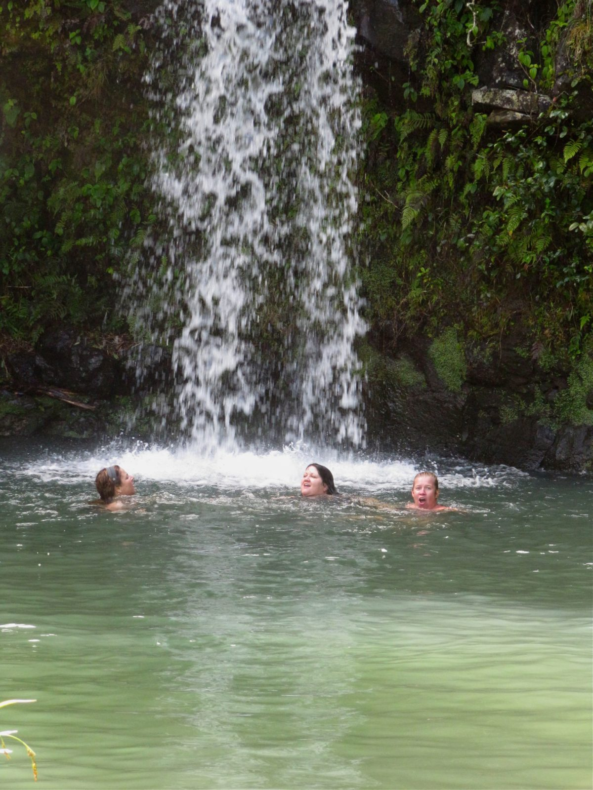 Swimming under a waterfall, oh yeah