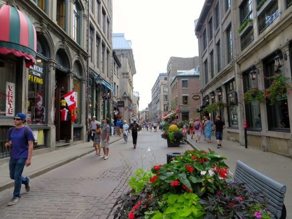 Shopping on the beautiful streets of Old Montreal.