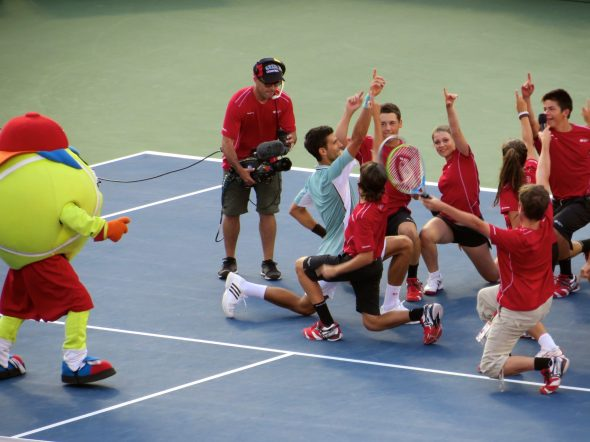 Djokovic likes to dance after a win.
