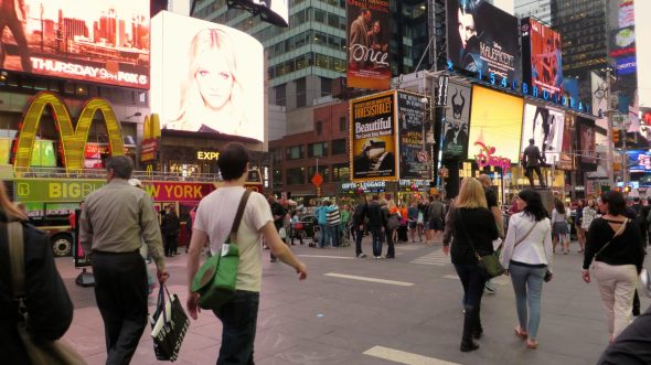 Times Square, the world's most commercial and frenetic place.