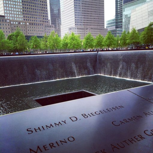 Memorial pools. A emotional and touching tribute for so many who lost their lives on 9/11.