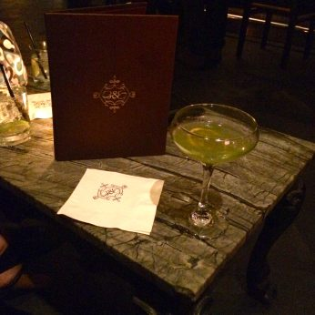 The Emerald Gimlet from Beauty & Essex. Made with Grey Goose, basil, lemon nectar and fresh lime.