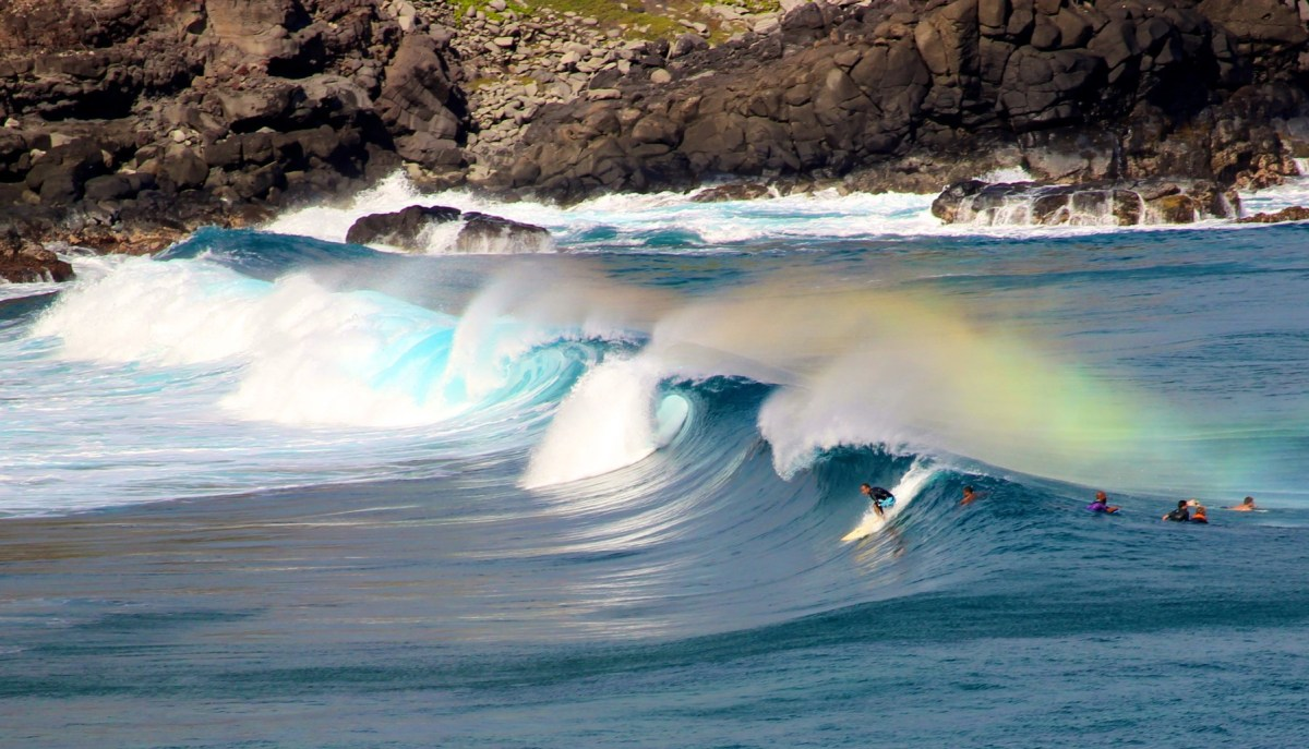 Surfers at Honolua Bay, Lahaina, Maui, Hawaii