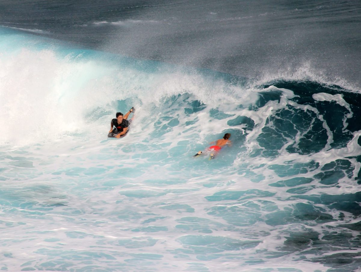 Body boarding at Honolua Bay, Lahaina, Maui, Hawaii