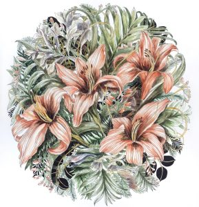 Tiger lilies, watercolour