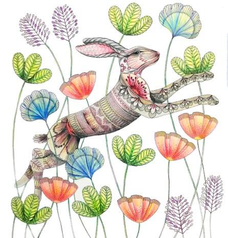Bunny and flowers, Animal Kingdom by Millie Marotta
