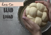 Leah Schapirah demonstrates how to braid a round challah for Rosh Hashanah. four strands, six trands, challah rolls.