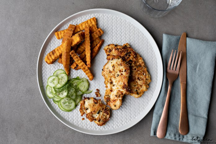 Grilled Chicken Schnitzel - It's Not Fried But It's So Good No One Minds. Your kids love chicken cutlets, but they really prefer them breaded and fried. This version of grilled chicken is so flavorful, they won't mind that you didn't fry them.