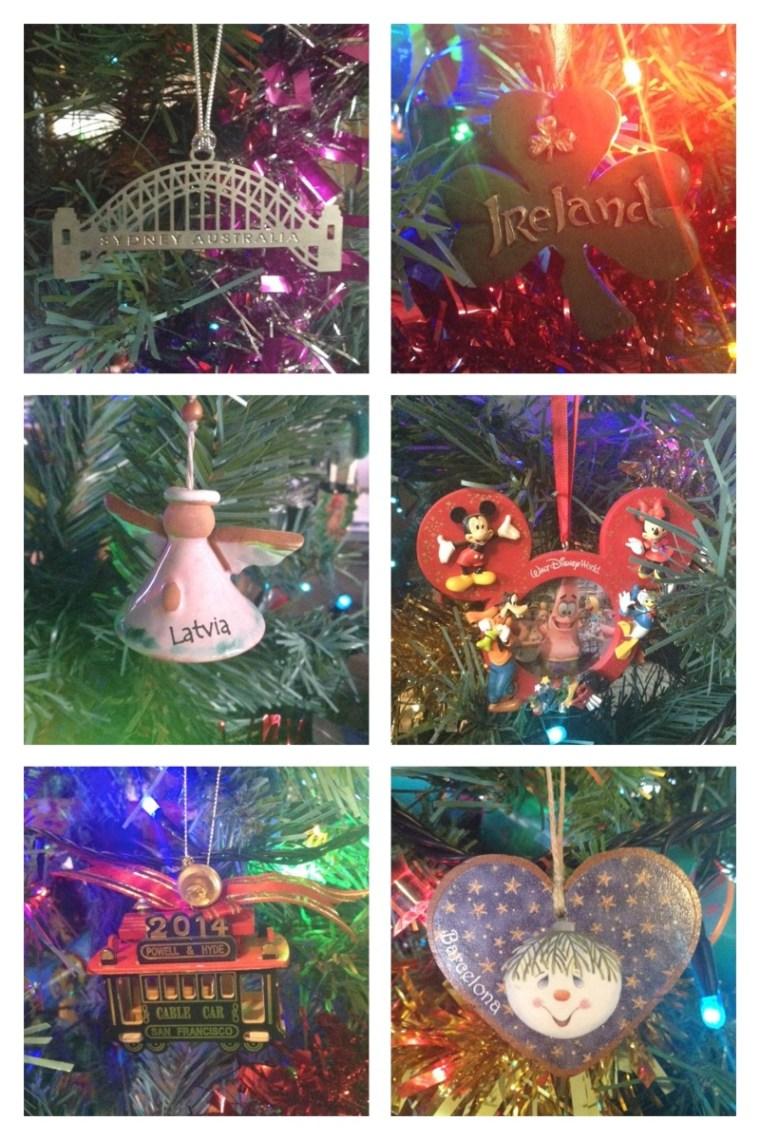 Travel themed Christmas tree decorations