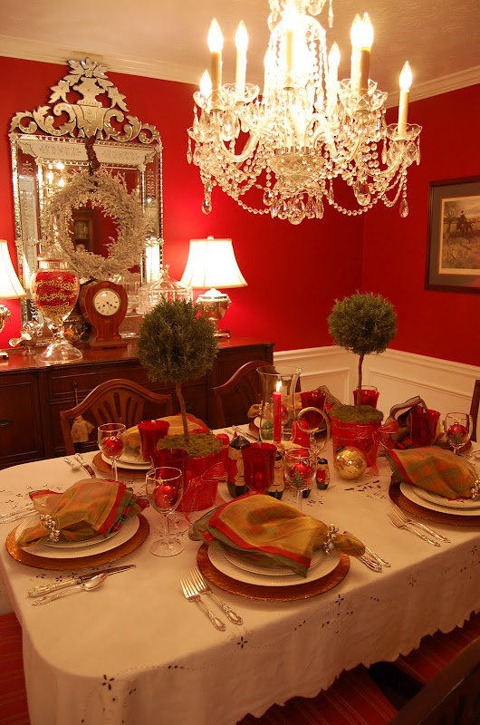 Christmas Table Setting Tablescape With Topiary Centerpiece