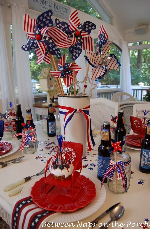The simplest way to decorate is to put heart and flower garlands on the bed and everywhere in the bedroom. Make an Easy Centerpiece or Table Decoration the 4th of July