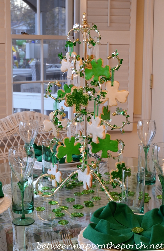 St Patricks Day Table Setting Tablescape With Shamrock Cookie Tree And Clover Napkin Fold