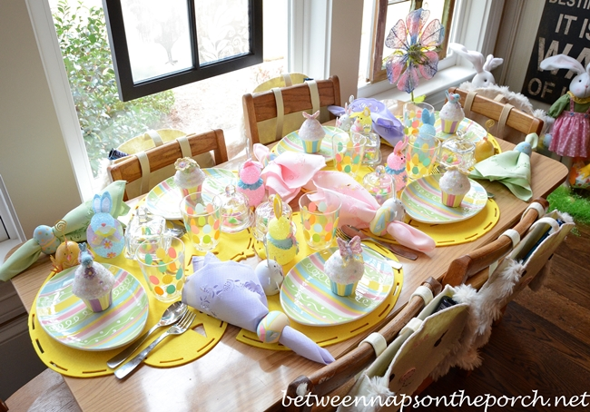Easter Table Settings For The Children's Table With