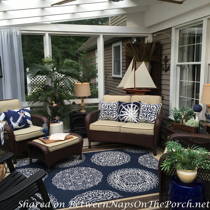 Nautical Decor & Tablescape for a 3-Season Porch on Nautical Patio Ideas  id=97238