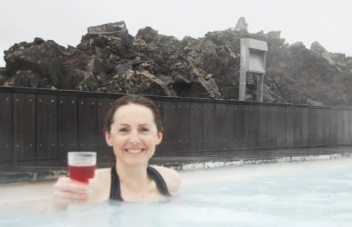 Drinking bubbly in the Blue Lagoon