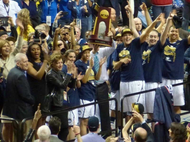 UConn Women with Championship Trophy