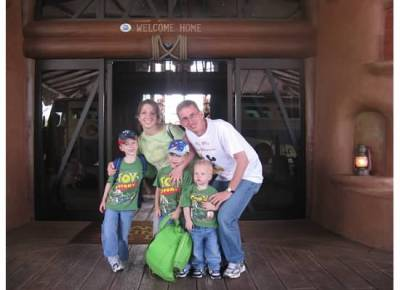 "The Melody Family on their first family vacation with Disney Vacation Club to their home resort Kidani Village in fall 2009, with DVC's signature ""Welcome Home"" greeting."