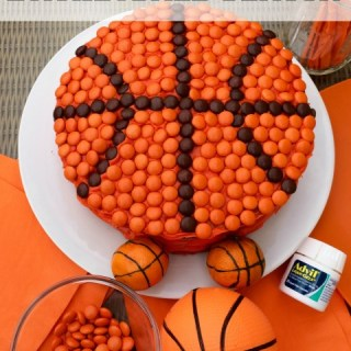 Bring on basketball season with chocolate peanut butter basketball cake