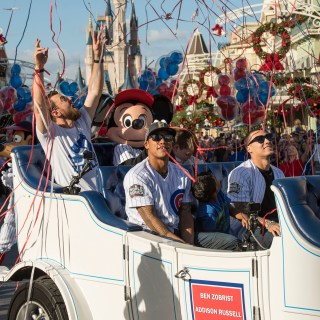 Photos of the Chicago Cubs celebrating World Series victory at Disney World