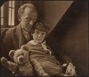 A.A. Milne with Christopher Robin and Winnie the Pooh by Howard Coster in 1926 from the National Portrait Gallery
