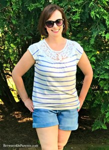 Summer Stitch Fix Outfit with Dear John jean shorts and Skies are Blue lace yoke top