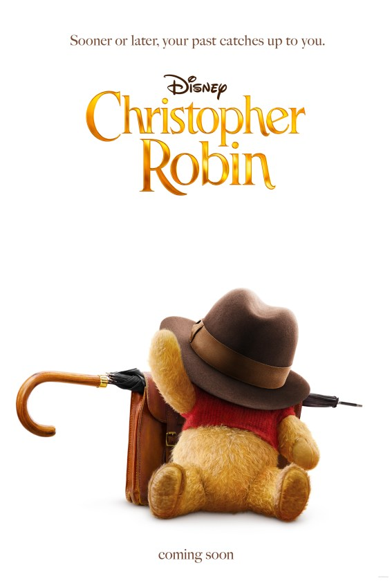 Christopher Robin movie poster of Winnie the Pooh. Click to see the sweet teaser trailer for this upcoming Disney film.