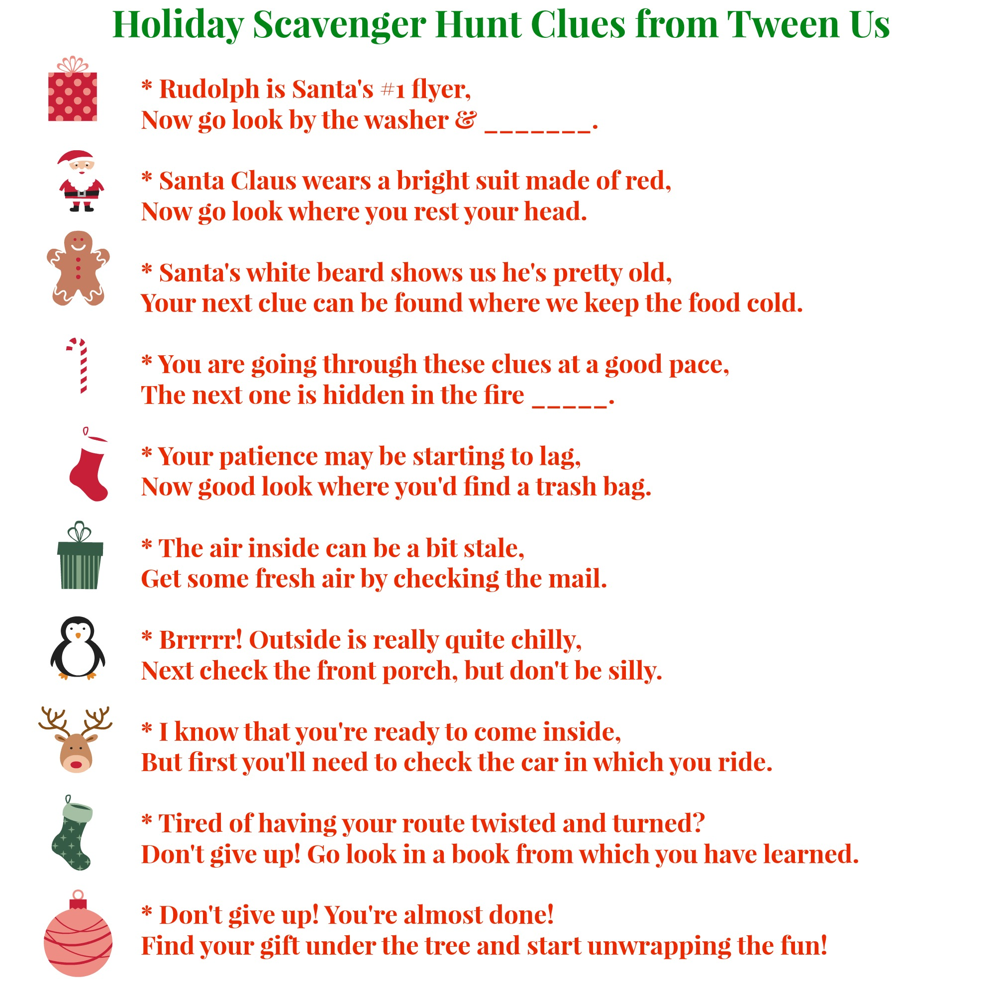 graphic relating to Printable Treasure Hunt Clues identify 56 Printable Xmas scavenger hunt clues - Concerning Us Mom and dad