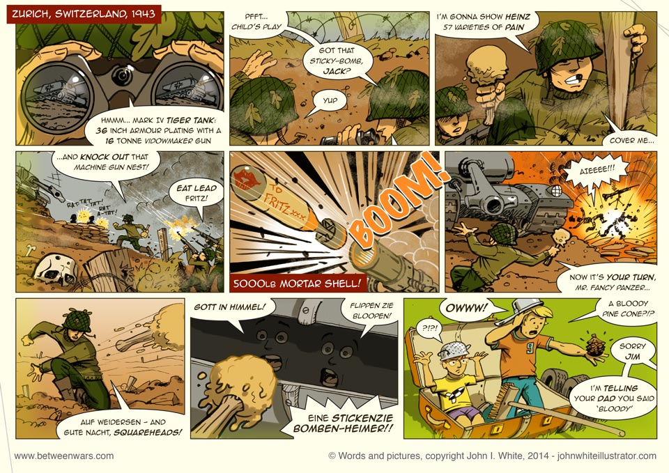 Kids playing soldiers in a WW2 Strip from the 'Between * Wars' page 'Prologue'. 1970s style comic.