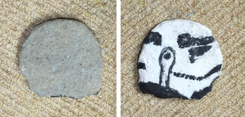 star wars stormtrooper painted on a stone