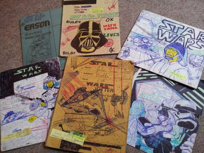 school copies/jotters drawn all over with star wars
