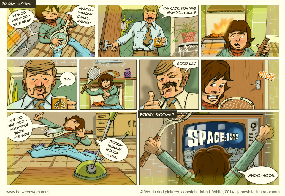 Jack kills time playing wah-wah tennis raquet guitar while he awaits the latest episode of Space 1999 - in this 1970s style comic page