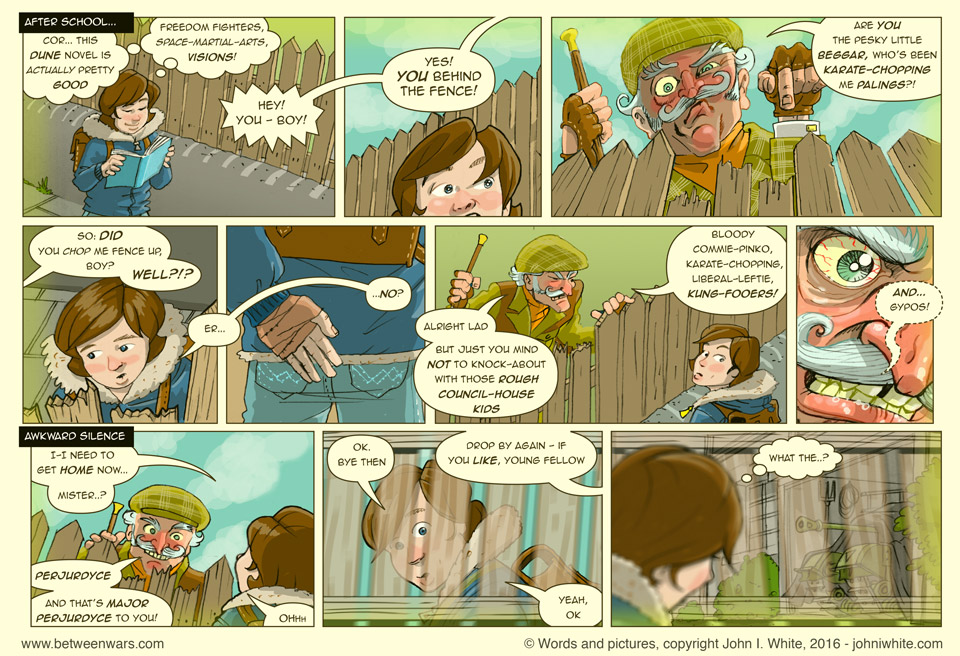 Part of a comic page featuring young Jack reading his Dune novel on the way home from school, and being yelled at over a fence by an angry old man - 1970s Irish comic page